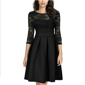 Miusol Lace Bust Long Sleeve Pleated Dress